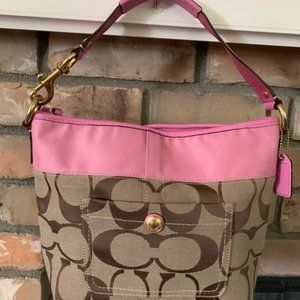 """Coach """"Carly"""" Signature Canvas/Pink Leather Hobo"""